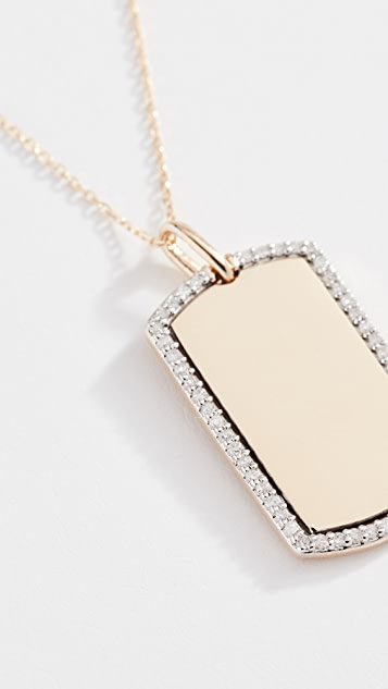 Adina Reyter 14K 金钻石小狗标签项链
