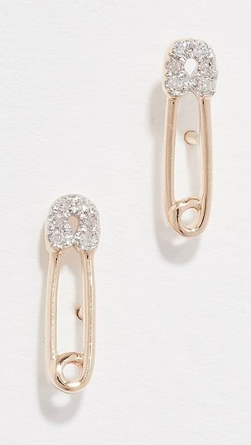 Adina Reyter 14K 金钻石安全别针针式耳环