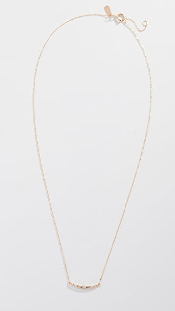 Adina Reyter 14K 金小号钻石条纹弧形项链