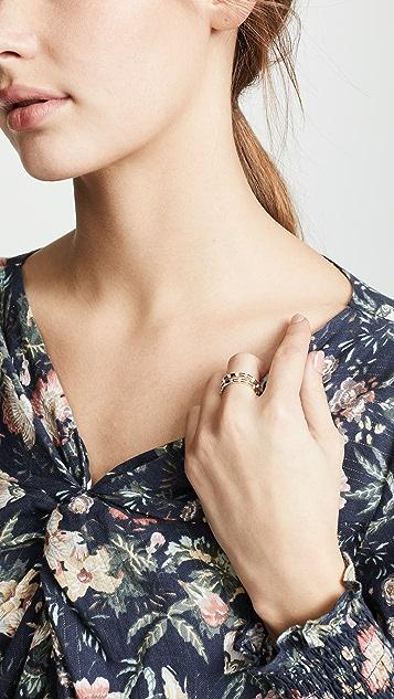 Adina Reyter 14k 白珐琅钻石条纹指环戒指