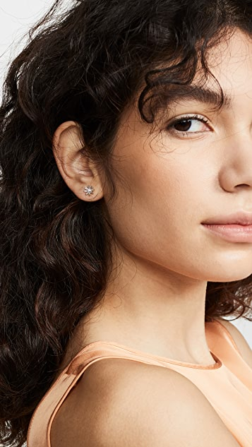 Adina Reyter 14K 钻石长方形花朵针式耳环