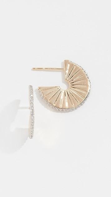 Adina Reyter 14k 钻石 Rays J 圈式耳环