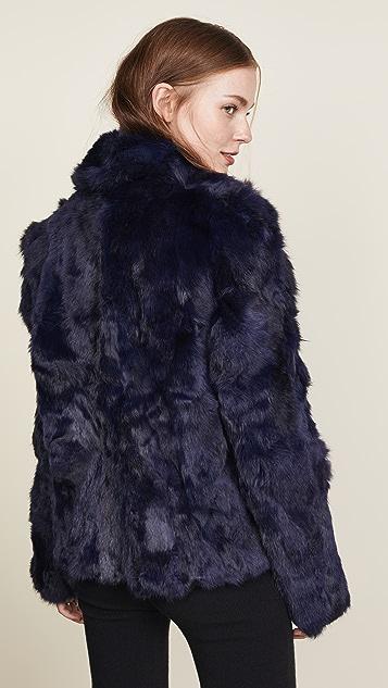 Adrienne Landau 纹理兔子中长双排扣厚外套