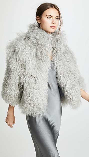 Adrienne Landau 蒙古小绵羊皮夹克