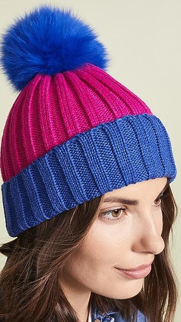 Adrienne Landau 皮毛绒球罗纹双色帽子
