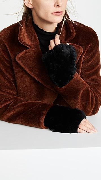 Adrienne Landau 兔毛露趾手套