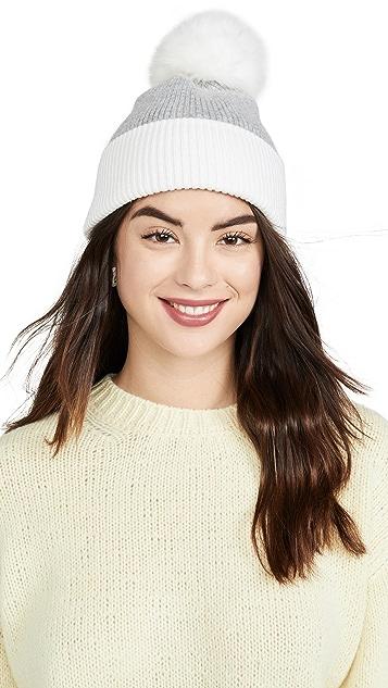 Adrienne Landau 羊毛混纺狐狸绒球帽子