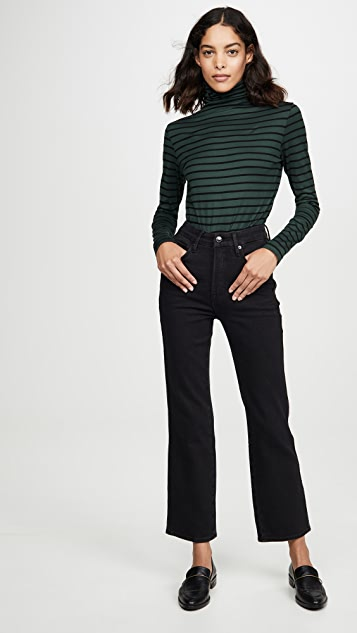 AG Chels 平纹针织条纹高领毛衣