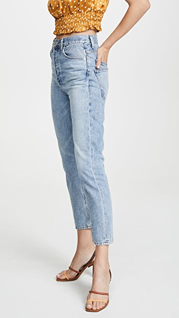 AGOLDE 双口袋 Riley 高腰九分牛仔裤