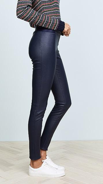alice + olivia 前拉链皮革贴腿裤