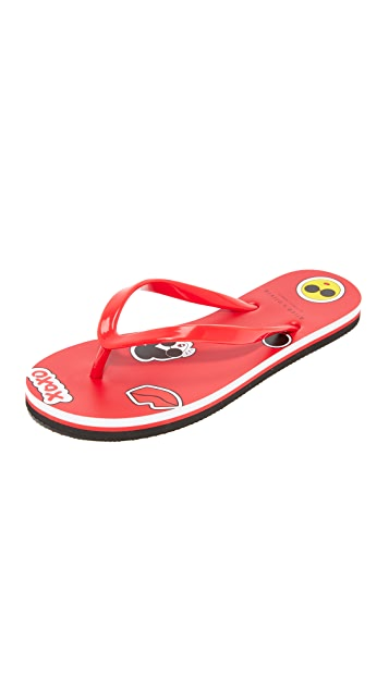 alice + olivia Catalina 表情符号夹趾凉鞋