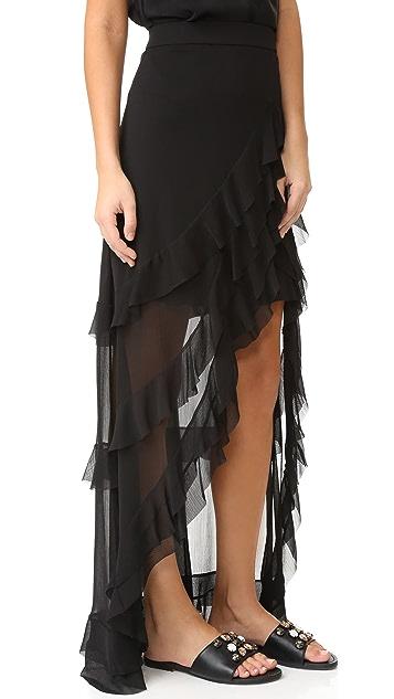 alice + olivia Lavera 不对称分层荷叶边半身裙