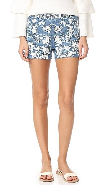 alice + olivia Marisa 刺绣后拉链短裤