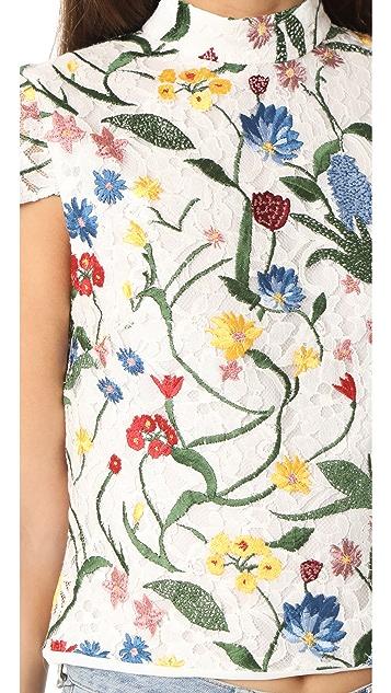 alice + olivia Viktoria 刺绣高领上衣