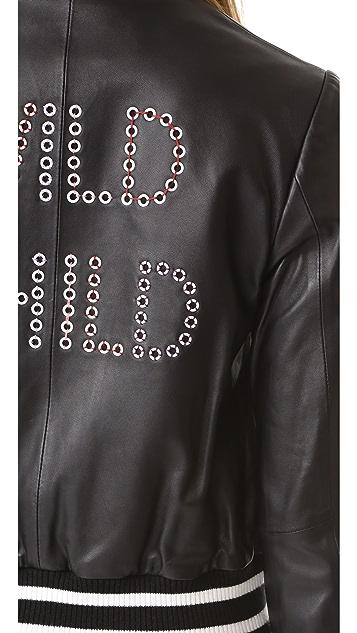 alice + olivia 爱丽丝+奥利维亚 Demia 皮革短夹克