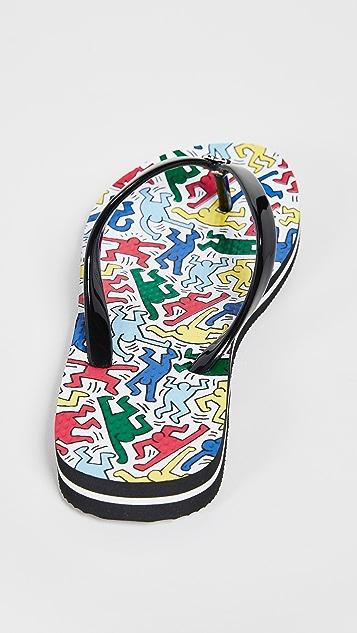 alice + olivia x Keith Haring Eva 42 夹趾凉鞋