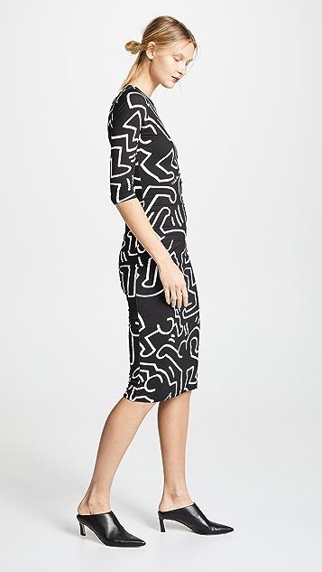 alice + olivia Keith Haring Delora 合身圆领连衣裙