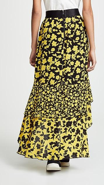 alice + olivia Sueann 中长荷叶边半身裙