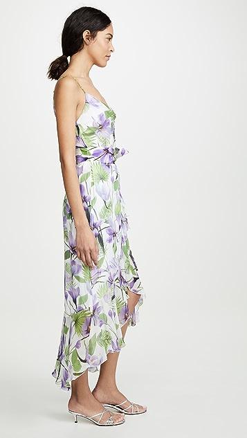 alice + olivia Tevi 垂褶领荷叶边连衣裙