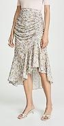 alice + olivia Freida 抽褶高腰中长半身裙