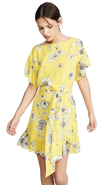 alice + olivia Ellamae 落肩荷叶袖连衣裙