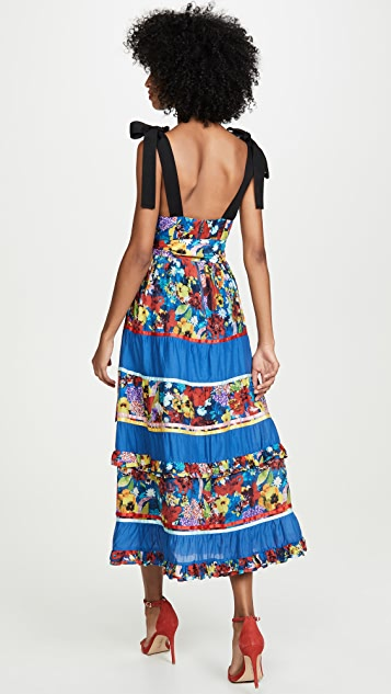 alice + olivia Gayla 层褶中长连衣裙