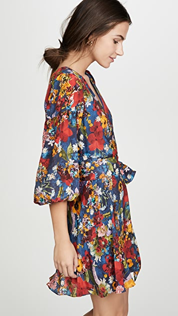 alice + olivia Kerri 灯笼袖裹身连衣裙