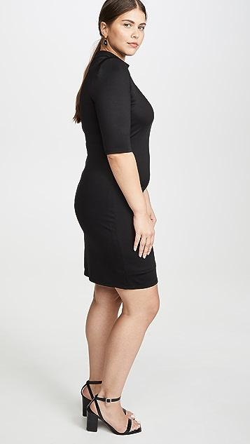 alice + olivia Inka 垫肩半高领连衣裙