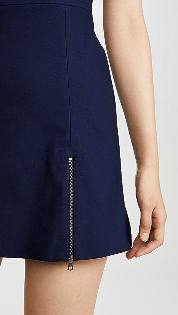 alice + olivia Maya 短袖不对称拉链迷你连衣裙