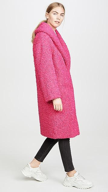 alice + olivia Ora 人造皮毛长款宽大衣领外套