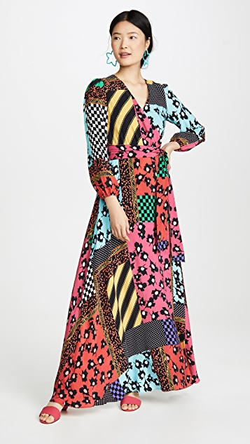 alice + olivia Coco Mock 裹身款式长连衣裙