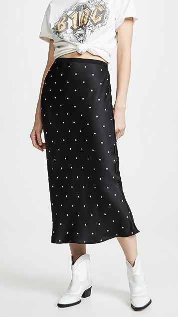 ANINE BING 丝织圆点花纹半身裙
