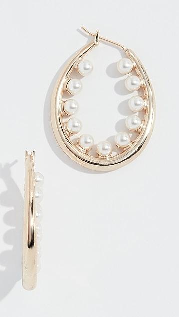 Anton Heunis 人造珍珠椭圆形耳环