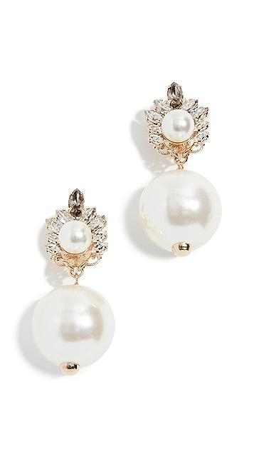 Anton Heunis 水晶簇状人造珍珠耳环