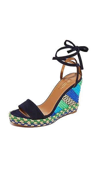Aquazzura Baru 编织底坡跟绑带凉鞋