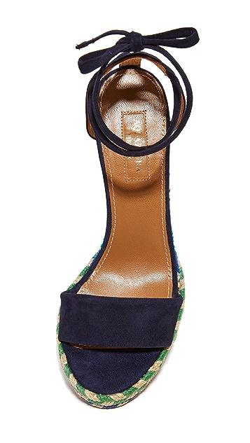Aquazurra Baru 编织底坡跟绑带凉鞋