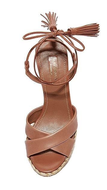 Aquazurra Paraty 编织底坡跟绑带凉鞋