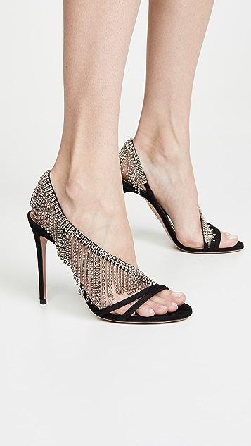 Aquazurra 流苏水晶凉鞋 105mm