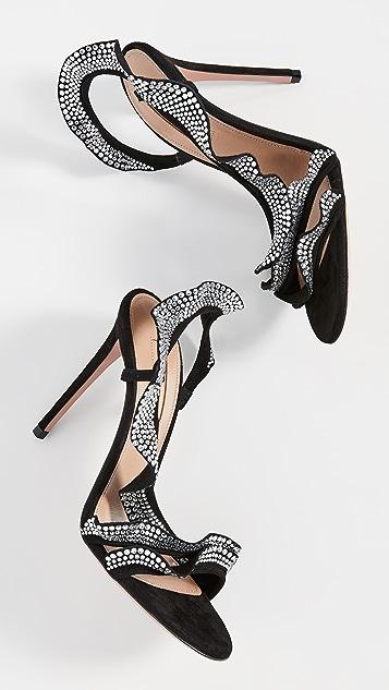 Aquazurra 105mm 荷叶边水晶凉鞋