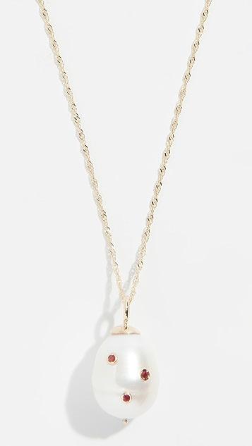 Ariel Gordon Jewelry 14k 包镶巴洛克淡水养殖珍珠红宝石项链
