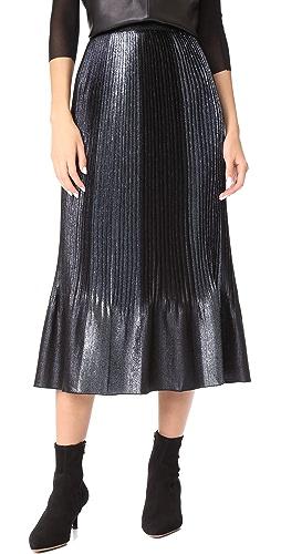 J Crew Collection Blue Stripe Ruffle Skirt