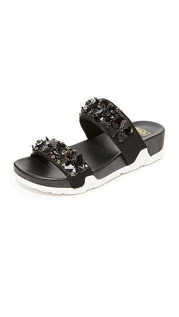 灰 Oman Flowers 凉拖鞋