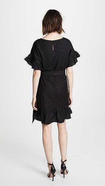 ASTR 标签 亚麻荷叶边裹身连衣裙