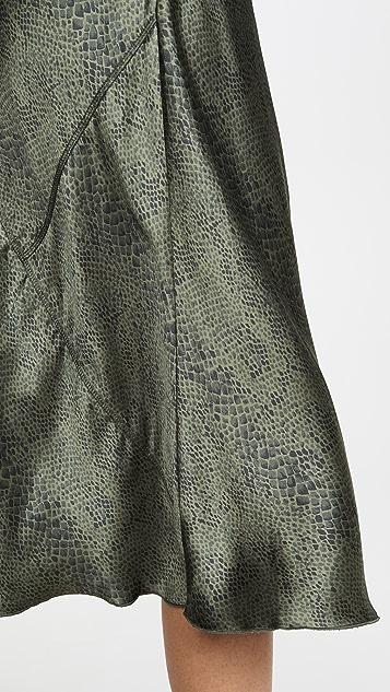 ATM Anthony Thomas Melillo 真丝蛇纹松紧套穿印花半身裙
