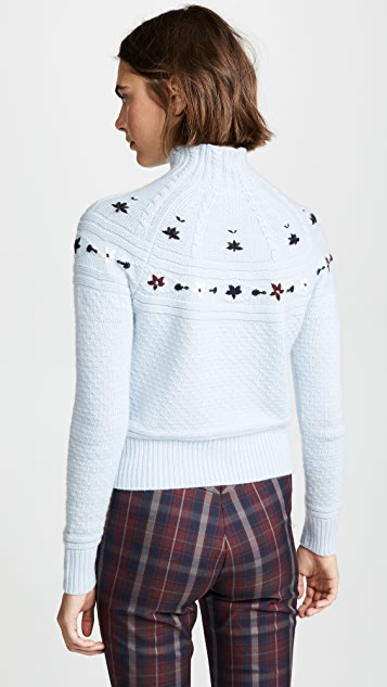 Autumn Cashmere 刺绣半高领毛衣