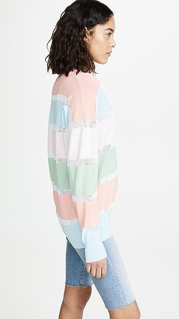 Autumn Cashmere 休闲条纹网面毛衣