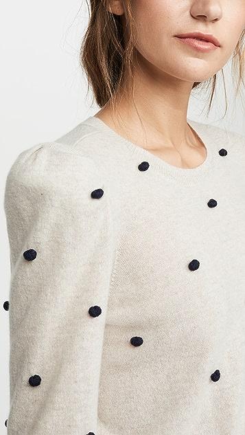 Autumn Cashmere 泡泡袖绒球开司米羊绒圆领上衣