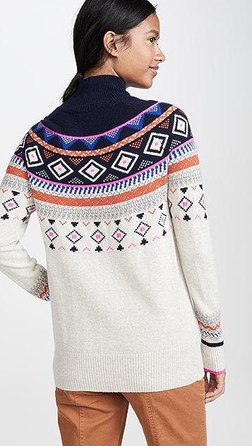 Autumn Cashmere 费尔岛风格印花半高领开司米羊绒毛衣