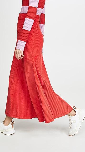 A.W.A.K.E MODE 倒置红色灯芯绒半身裙