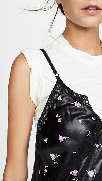 Alexander Wang 蕾丝细节 T 恤混搭衬裙